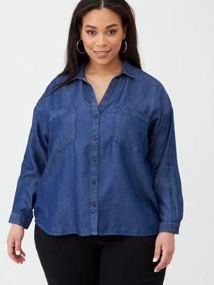 V By Very Curve Button Through Denim Shirt - Mid Wash