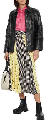 Ganni Paneled Printed Crepe Midi Skirt