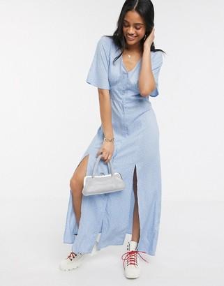 Miss Selfridge button front maxi dress in pale blue spot