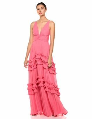 Halston Women's Sleeveless V-Neck Gown with Smocked Ruffle Inserts