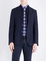 Corneliani Slim-fit suede-detail cotton and cashmere-blend jacket