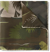 Valentino Tropical-print Silk-twill Pocket Square