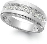 Macy's Men's Nine-Stone Diamond Ring in 10k White Gold (1 ct. t.w.)