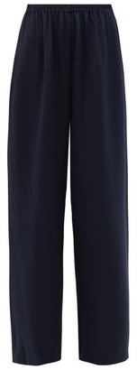 eskandar Flared Silk Crepe Trousers - Womens - Navy