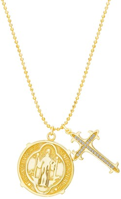 Paige Harper Cubic Zirconia Cross & St. Benedict Medal Necklace