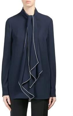 Alexander McQueen Silk Tie Neck Blouse