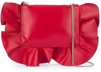 Red(V) Ruffle Trim Shoulder Bag