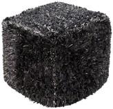 """Surya Black Toco Fuzzy Cube Pouf (18""""X18""""X18"""")"""