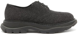 Alexander McQueen Raised-sole Glitter Suede And Leather Derby Shoes - Black