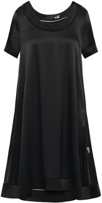 Love Moschino Open Knit-trimmed Satin-crepe Dress