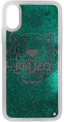 Kenzo Green Glitter Tiger Head iPhone X/XS Case