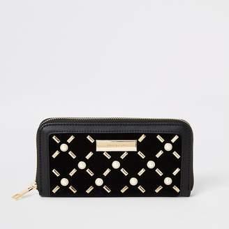 River Island Black pearl studded zip around purse