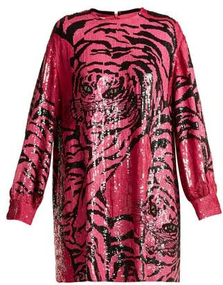 Valentino Tiger Sequin-embellished Silk-chiffon Mini Dress - Womens - Pink Print