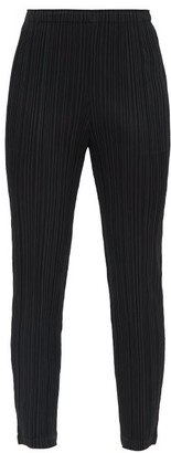 Pleats Please Issey Miyake High-rise Technical-pleated Tapered Trousers - Black