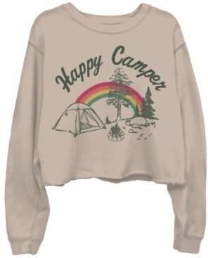 Junk Food Clothing Happy Camper Cotton Cropped Sweatshirt