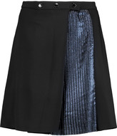 Markus Lupfer Pleated lamé-paneled crepe mini skirt