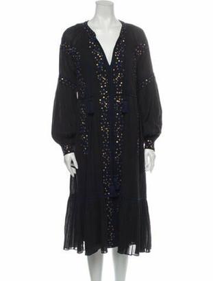 Ulla Johnson V-Neck Midi Length Dress Black