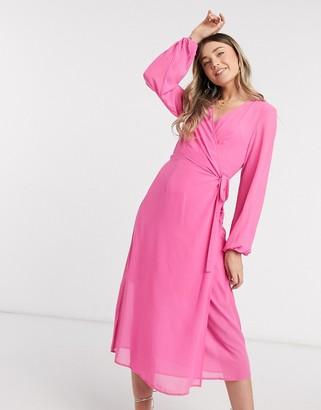 Vero Moda wrap midi dress in pink