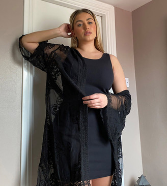 New Look Curve mesh long line kimono in black