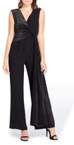Tahari Women's Metallic Faux Wrap Jumpsuit