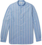 Camoshita Grandad-Collar Striped Cotton-Blend Shirt