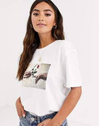 Daisy Street relaxed t-shirt with rose graphic in organic cotton-White