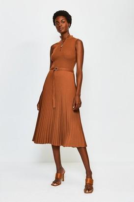 Karen Millen Zip Turtle Neck Pleated Skirt Dress
