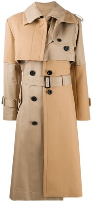 Sacai Leather Panelled Trench Coat