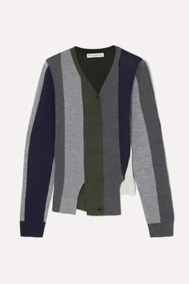 J.W.Anderson Asymmetric Paneled Wool Cardigan - Navy