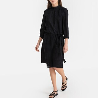 La Redoute Collections High Neck Mid-Length Dress with 3/4 Length Sleeves