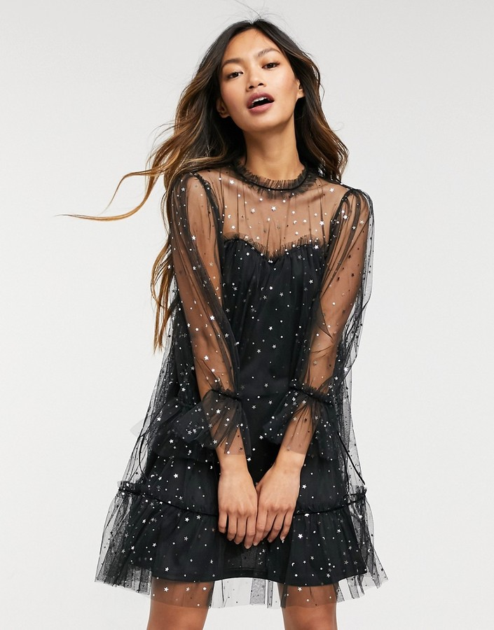 Thumbnail for your product : Forever U organza mini dress in black with flounce hem in speckled glitter