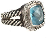 DESIGNER Sterling Silver Blue Topaz Diamond Spiral Banded Cocktail Ring Sz 7.5