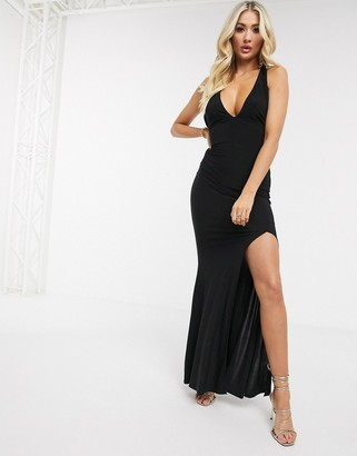 Club L London Club L halterneck slinky maxi dress in black