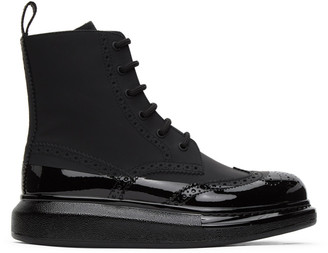 Alexander McQueen Black Perforated Hybrid Lace-Up Boots
