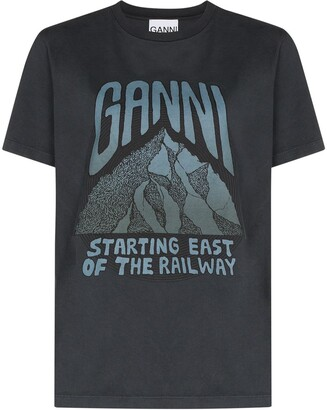 Ganni slogan logo cotton T-shirt