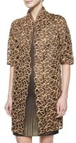 Akris Metallic Trapezoid Lace Coat, Caramel Gold