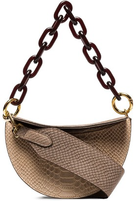 Yuzefi snake-effect chain and leather shoulder bag
