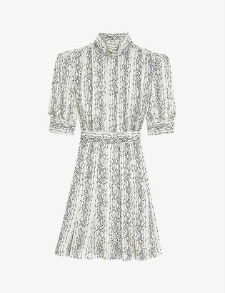 Sandro Shirel graphic-print crepe mini dress