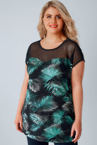 Yours Clothing Black & Green Palm Print Top With Mesh Yoke