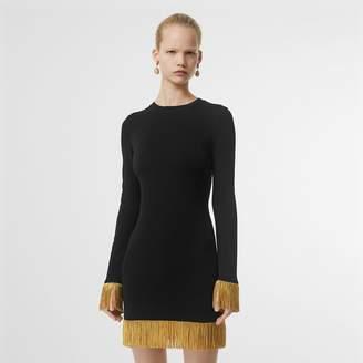 Burberry etallic Fringe Detail Stretch Jersey Dress