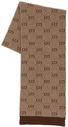 Gucci Logo Jacquard Wool & Cotton Scarf