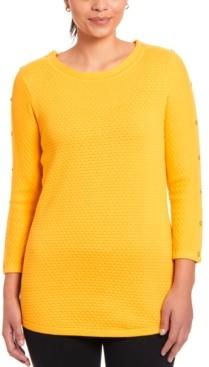Joseph A Textured Button-Sleeve Sweater