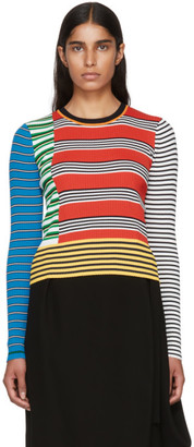 Enfold Red Multi Border Stripe Rib Sweater