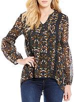 Blu Pepper Floral-Printed Lurex Crochet-Trim High-Low Hem Peasant Top