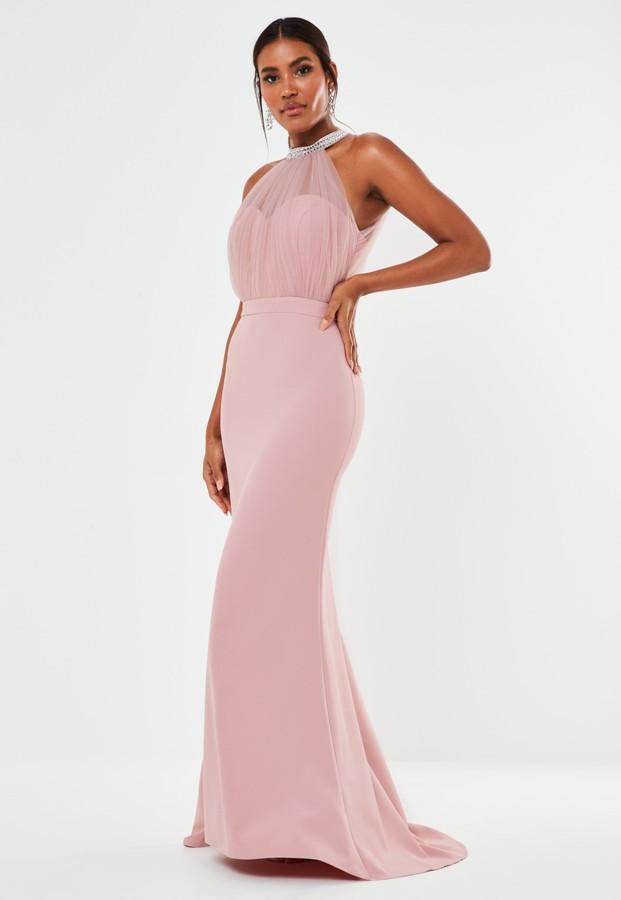 Missguided Blush Diamante Organza Halterneck Maxi Bridesmaid Dress