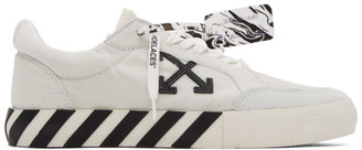 Off-White White and Black Pony Vulcanized Low Sneakers
