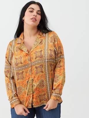 V By Very Curve Scarf Print Blouse - Orange