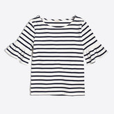 J.Crew Factory Striped ruffle-sleeve T-shirt