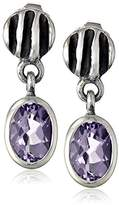 "Zina Sterling Silver ""Waves"" Lentil Amethyst Drop Earrings"