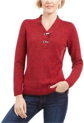 Karen Scott Cotton Marled Henley Sweater